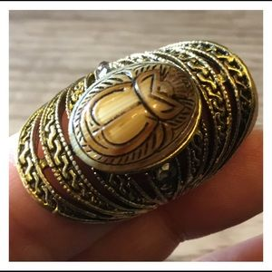Egyptian Scarab Stone Gold Statement Ring